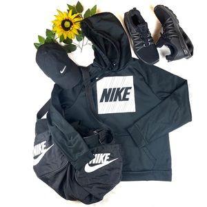 Nike  Black White Hoodie Kangaroo Pocket Spell out